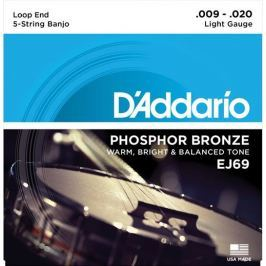 D'Addario Phosphor Bronze 5-String Banjo Set Light 9-20